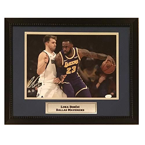Luka Doncic Autographed Dallas Mavericks Signed 11x14 Basketball Framed Photo w/Lebron James JSA COA 4 from Powers Collectibles