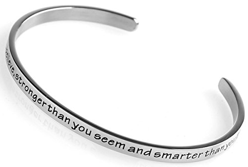 Stainless Steel Cuff Bangle Bracelet with engraved