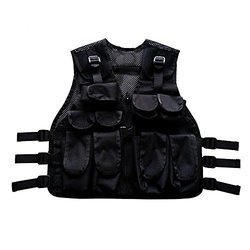 BESTHUNTINER Kids Army Camo Combat Vest Black&US Woodland camo Vest Durable Breathable Tactical Vest 9pockets Fits Ages 5-13 Yrs -