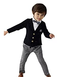 Theplus Boy England Style Suit with Bow Tie Fake 2 Piece Tops and Pant Outfit