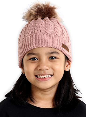 Brook + Bay Kids Faux Fur Pom Pom Beanie - Fits Girls, Boys, Babies & Toddlers - Thick, Soft & Warm Cable Knit Hats - Cozy Kids Cold Weather Chunky Hat for The Winter Season