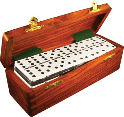 Domino Double Six Two Tone Black & White in Dovetail Jointed Sheesham Wood Box - Jumbo Tournament Size w/Spinners