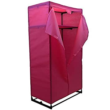 Home Discount Storage Double Wardrobe, Pink Canvas Clothes Rail Strong Frame FREE DELIVERY