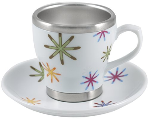 (Pearl Cafe Stainless Steel and Porcelain Rainbow Stars Espresso Cup and Saucer Set, Service for 4)