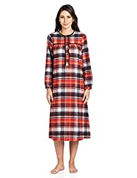 Ashford & Brooks Women's Flannel Plaid Long Sleeve Nightgown