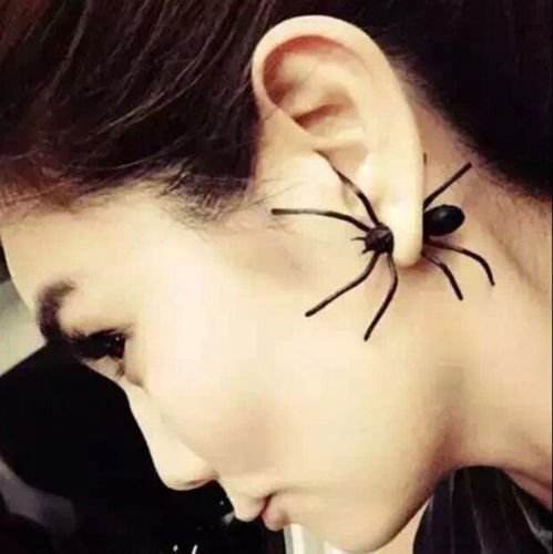 Price comparison product image Diansts(TM) 1Pcs Hot Fashion Womens Halloween Black Spider Charm Ear Stud Earrings Jewelry