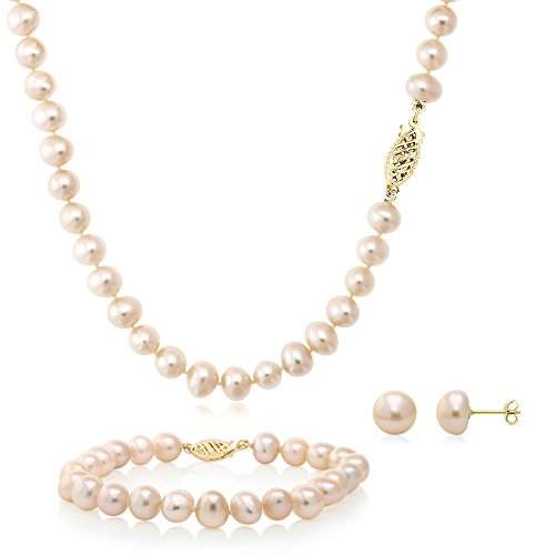 Pink Cultured Freshwater Pearl Necklace Bracelet and Earring Set 14K Yellow Gold by Gem Stone King
