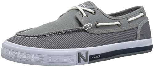 Nautica Deck Shoes - Nautica Men's Spinnaker Boat Shoe, Radial Grey Stripe, 9.5 Medium US