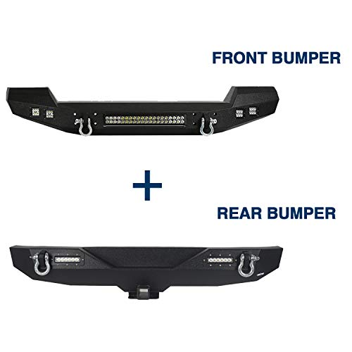 (u-Box Jeep JK Front & Rear Bumper Climber Different Trail Combo Kit for Jeep Wrangler & Wrangler Unlimited 2007-2018)