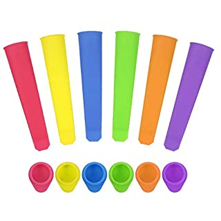 KINAKE 6 Pcs Silicone Ice Pop Mold Set Colorful Popsicle Molds with Lid DIY Ice Cream Makers Reusable Easy Release Ice Pop Maker