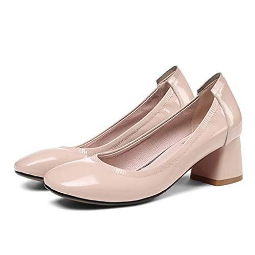 ZHZNVX Zapatos de Mujer Charol Caída Comfort Tacones Tacón Grueso Negro/Rojo / Almendra Almond