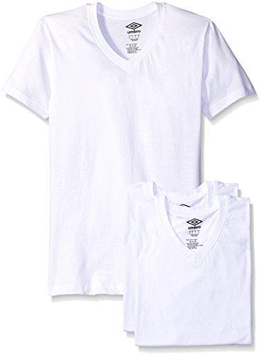 Umbro Men's 3-Pack V-Neck T-Shirt, White Medium