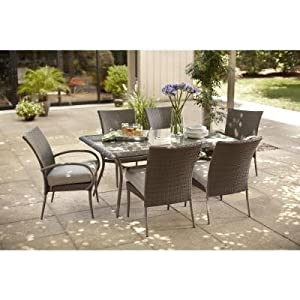 Hampton Bay Posada 7 Piece Decorative Outdoor Patio Dining Set With Gray  Cushions, Seats 6