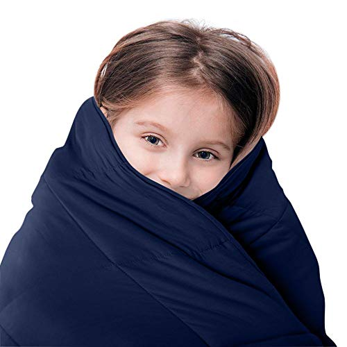LUNA Kids Weighted Blanket | 10 lbs - 41x60 - Twin Size Bed | 100% Oeko-Tex Certified Cooling Cotton & Premium Glass Beads | Designed in USA | Heavy Cool Weight for Hot & Cold Sleepers | Navy
