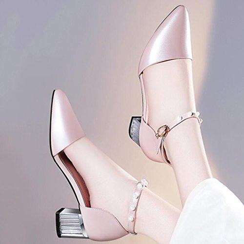 Talons Enveloppant Supérieur Chaussures Pointue Tête L'orteil Femme Rose Moyen Printemps À Épais Pu Talon Vamp Hauts Envelopper xwtYw6OA