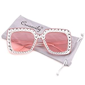 Creamily Women Oversized Sunglasses Sparkling Square Eyeglasses Thick Frame Glasses Fashion Shade (Clear frame Pink lens)