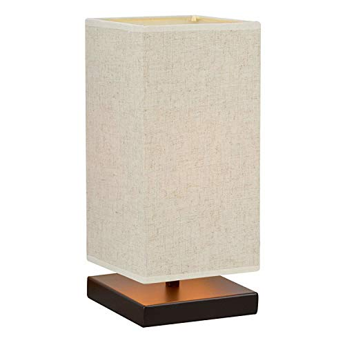 "Revel/Kira Home Lucerna 13"" TOUCH Bedside Table Lamp + 4W LED Bulb (40W eq.) Energy Efficient, Eco-Friendly, Honey Beige Shade"