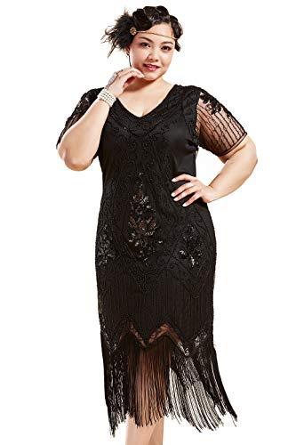 1920s Plus Size Flapper Dress (BABEYOND Plus Size 1920s Art Deco Fringed Sequin Dress Flapper Gatsby Costume Dress (Black, 3X Plus)