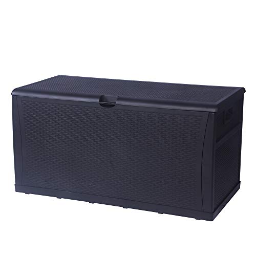 LUCKYERMORE Patio Deck Box Storage Container Outdoor Rattan Style Plastic Storage Cabinet Bench Box, Lockable,Large Capacity 120-Gallon