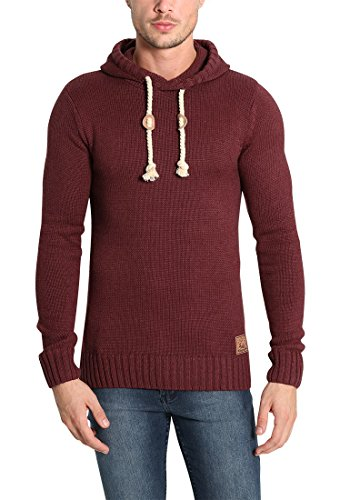 Melange Pull Capuche Grosse Pitu À Maille over Red Pull Wine En Homme solid Pour Tricot 8985 a6qwf0q