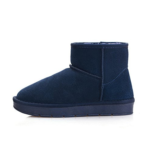 Leather Boots Womens No Boots Closure 1TO9 7 UK Solid Blue Y0ZqFdx