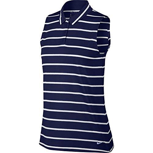 Nike Women's drifit Dry Polo Sleeveless Stripe, Blue Void/White/Blue Void, Small