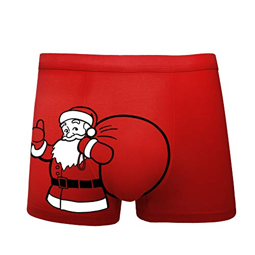 Men's Christmas Sexy Novelty Boxers,Soft Cotton Stretch No Ride up Boxer for Men Red (Boxers Christmas For Men)