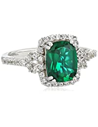 Sterling Silver Cushion-Cut Created Gemstone Ring