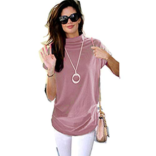 Adeliber Women's high Collar Casual Short-Sleeved Cotton Solid Color Shirt T-Shirt Tops Large Size Pink