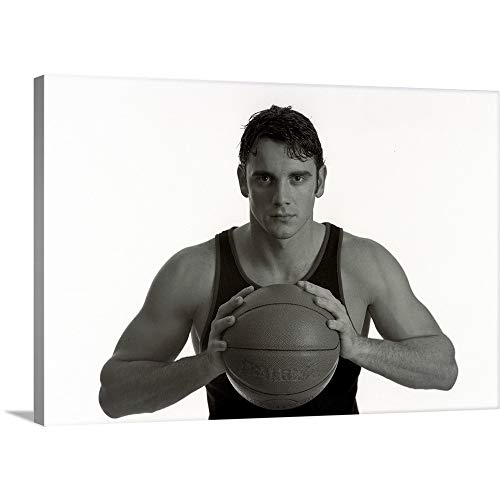 Portrait of Male Basketball Player Holding The Ball Canvas Wall Art Print, 18
