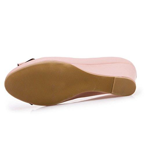 YE Damen Keilabsatz Pumps High Heels mit Schleife und Absatz 6cm Elegant Schuhe Rosa