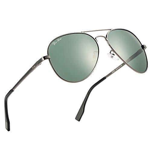 Pro Acme Premium Military Style Polarized Aviator Sunglasses, 100% UV Protection (Gunmetal Frame/G15 Lens)