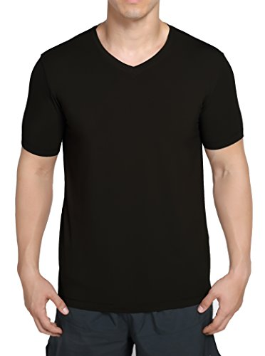 worboo Tee Ultra Soft Organic Bamboo - Men's V Neck Undershirts (Medium,Black) Bamboo V-neck Tee