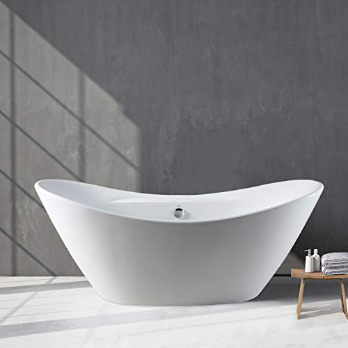 (FerdY 67'' Acrylic Freestanding bathtub, White Modern Stand Alone bathtub Soaking Bathtub, Easy to Install, cUPC Certified, Drain & Overflow Assembly Included )
