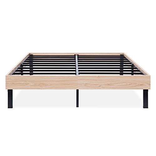 Natural Steel Frame - Olee Sleep VC14WF04K-2 14 Inch Wood Platform Steel Slat Support,Stylish Natural,King Size Bed Frame, Beige, Black