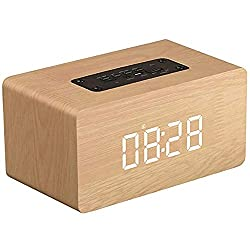 Wireless Bluetooth Speaker,BOOMER VIVI Wooden Portable Touch Speaker with 2 Sets of Alarm Clock LCD Screen,Super Bass,Subwoofers,TF Card,Compatible with iPhone 6/6S/7 Indoor Outdoor (Yellow)