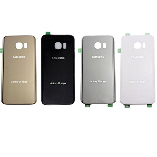 Replacement Battery Door Back Cover Glass Housing Case Camera Cover Lens Battery Door Adhesive For Samsung Galaxy S7 Edge G935 With 2 Logos (Gold)