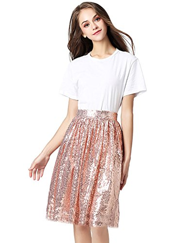 Midi rose Causual Midi Line A Mine Skirt anmor Skirt Sequins AR12025 Gold Women's CPwxYqg