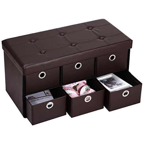 Ollieroo PU Leather Foldable Ottoman Storage Bench Footstool Space Saver with 6 Drawer Dividers (Brown) (Bench With Storage Drawers compare prices)
