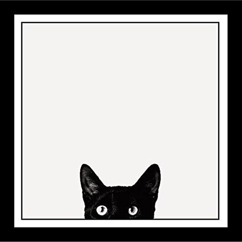 FRAMED Curiosity Black Cat by Jon Bertelli 11x11 Art Print Poster Wall Decor Black and White Photograph of Kitty Kitten (Black Cat Art)