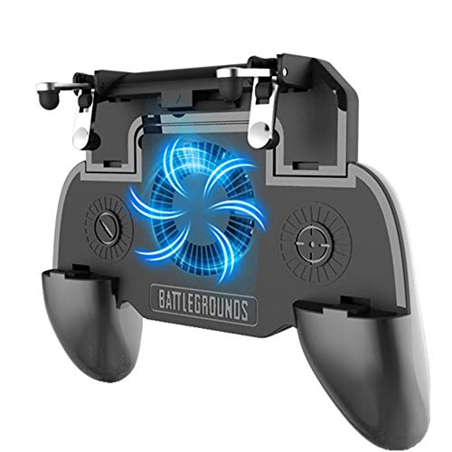 COOBILE Gaming Grip with Portable Charger Cooling Fan,for PUBG Mobile Controller L1R1 Mobile Game Trigger Joystick for 4-6.5