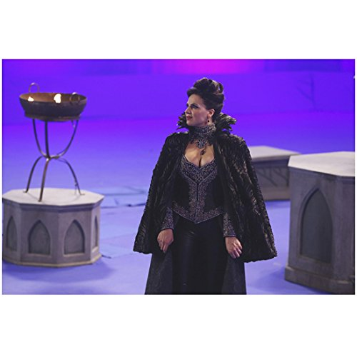 Lana Parrilla Once Upon a Time in black feathered cloak on chroma key set 8 x 10 Inch Photo