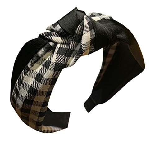 - iNoDoZ Women's Headband Knot Turban Headbands Plaid Bow Cross Tie Velvet Hair Band Accessories Black