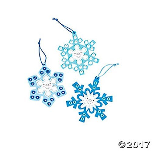 Set of 12 Bead and Foam Happy Face Snowflake Ornament Project Craft Kits ~ Blue and White (Ornament Set Snowflake)
