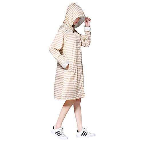 Capucha Beige Transpirable Funcional Ligero Mujer Lluvia Battercake Chaqueta Impermeable Con Casuales Mujeres Parka Rayas SHaw7q