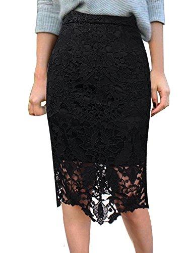 VFSHOW Women Elegant High Waist Crochet Lace Casual Party Pencil Skirt 545 BLK XXL