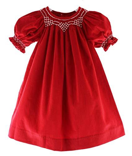 Girls Red Smocked Christmas Dress Corduroy Pearl Smocking Short Sleeve 24M