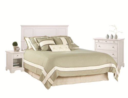 Home Styles Naples Queen Headboard, Nightstand and Chest, Wh