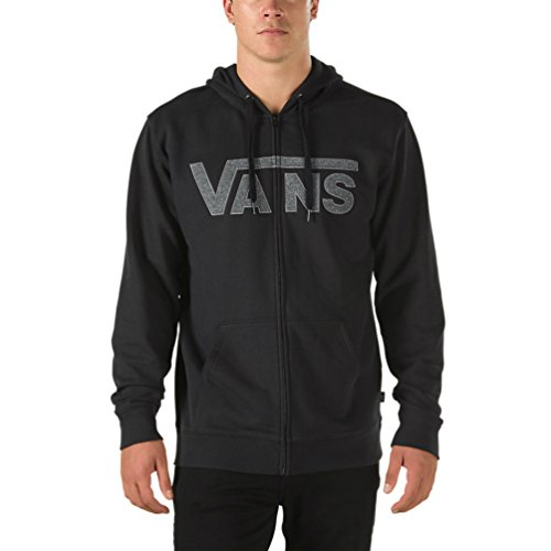Vans Men's Drop V Full Zip Up Hoodie (Black, X-Large)