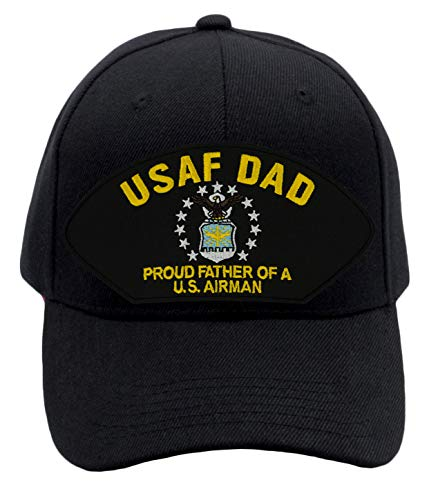 Patchtown Air Force Dad - Proud Father of a US Airman Hat/Ballcap Adjustable One Size Fits Most Multiple Colors and Styles (Black, Standard (No Flag))